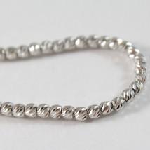 Bracelet en or Blanc 750 18K avec des Boules Sphères à Facettes Cœur Long 17 CM image 2