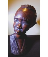"""Collectible Vintage Mahogany WOOD Male Bust African Statue 7 3/4"""" X 3 3/4"""" - $84.15"""
