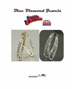 CHEAP Large CZ Inside Out Oval Hoop Earrings Choose Yellow/White US SELLER - $12.95