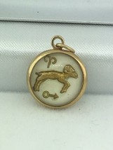 Art Deco (ca. 1920) Aries 14K Yellow Gold Intaglio Crystal Ram Pendant - $245.00