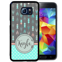 Personalized Rubber Case For Samsung S9 S8 S7 S6 S5 Plus Arrow Teal Polka Dot - $14.98