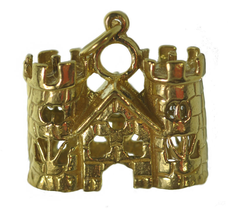 Primary image for NICE Medieval 24K Gold plated Queen King Castle Charm Viking Fortress Town Hall