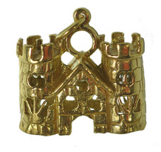 NICE Medieval 24K Gold plated Queen King Castle Charm Viking Fortress To... - $20.36