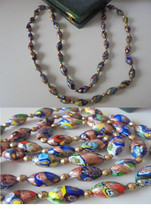 MURANO long NECKLACE made with colorfull MURRINE Original in gift box - $60.00