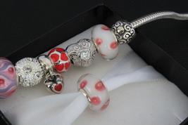Sterling Silver 925 Lampwork Glass Charm Bead fit Pandora Bracelet 1pcs - $3.50