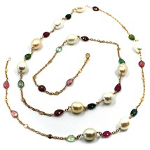 """18K ROSE GOLD LONG NECKLACE ROLO CHAIN, BIG 12mm PEARLS & TOURMALINE DROPS 35.4"""" image 2"""