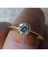 VINTAGE 1960s-70s Solitaire Cubic Zirconia CZ Knife Edge RING Goldtone - $10.00
