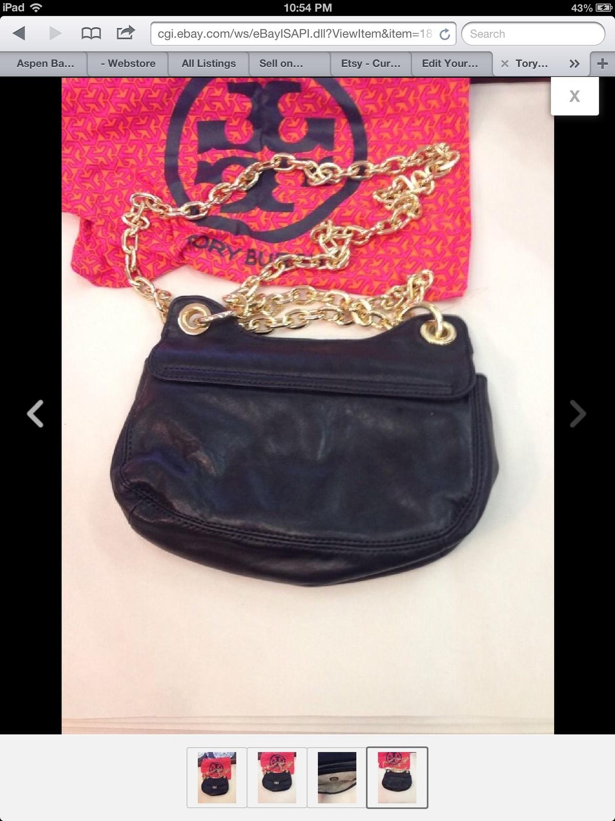 Tory Burch Black Soft Leather Megan Shoulder Bag Handbag Tote Purse W Dust Bag
