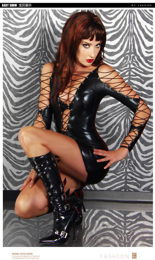 748 Sexy erotic & wild strapy blouse/dress, hig elastic, free size, black - $54.00