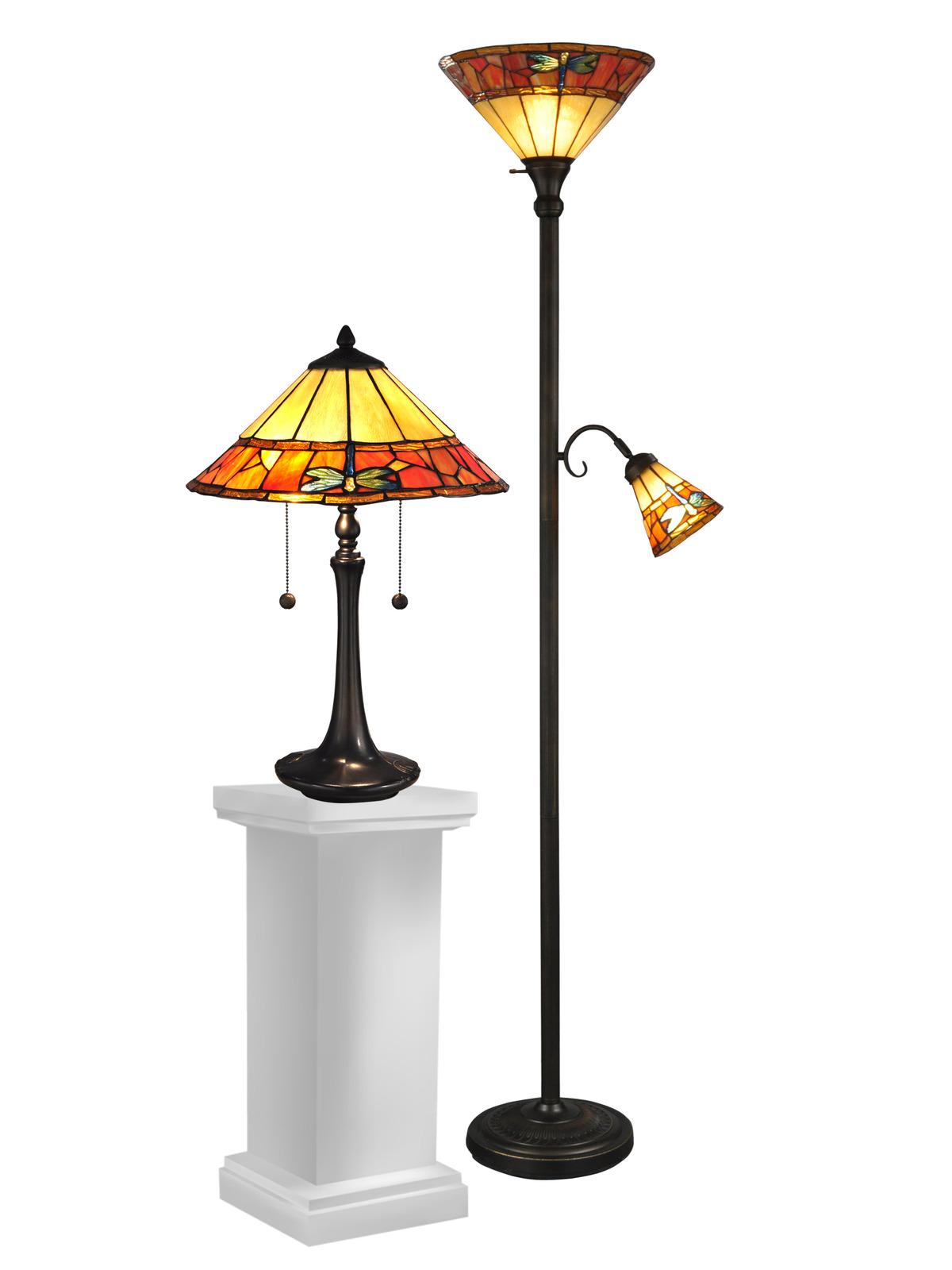 Dale tiffany genoa table and floor lamp set lamps for Gotham tiffany style downbridge floor lamp