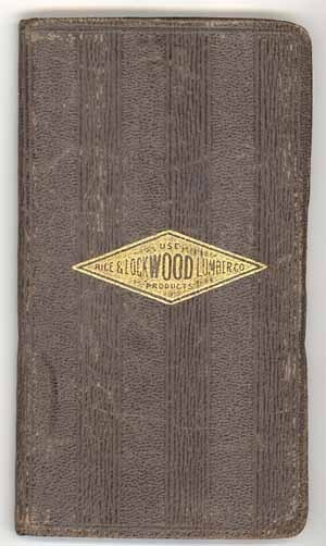 Rice Lockwood Lumber 1930 advertising notebook leather forestry vintage