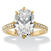 5.81 TCW Cubic Zirconia and Swarovski Elements Crystal 14k Gold-Plated Ring - $45.94