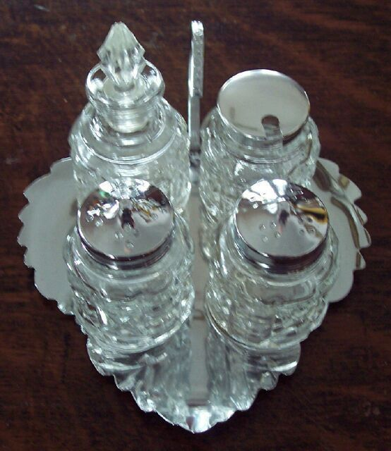 Retro 5 Pc Chrome & Pressed Glass Condiment Set