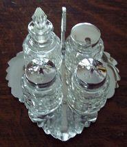 Retro 5 Pc Chrome & Pressed Glass Condiment Set - $20.00