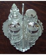 Retro 5 Pc Chrome & Pressed Glass Condiment Set - $20.00