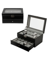 20 Watch Leather Box Glass Top Display Lockable... - $45.00