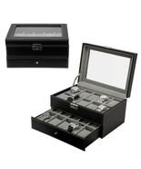 20 Watch Leather Box Glass Top Display Lockable Jewelry Organizer Storag... - $45.00