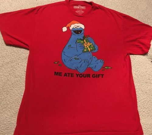"Primary image for Men's XL 46-48 Red funny Christmas Shirt Cookie Monster ""Me ate your gift"""