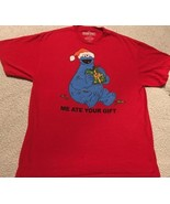 "Men's XL 46-48 Red funny Christmas Shirt Cookie Monster ""Me ate your gift"" - $9.00"