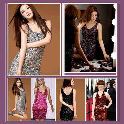 Silk Chiffon Sleeveless Sequined Sweetheart Mini Gown w/ V Neckline in 5 Colors