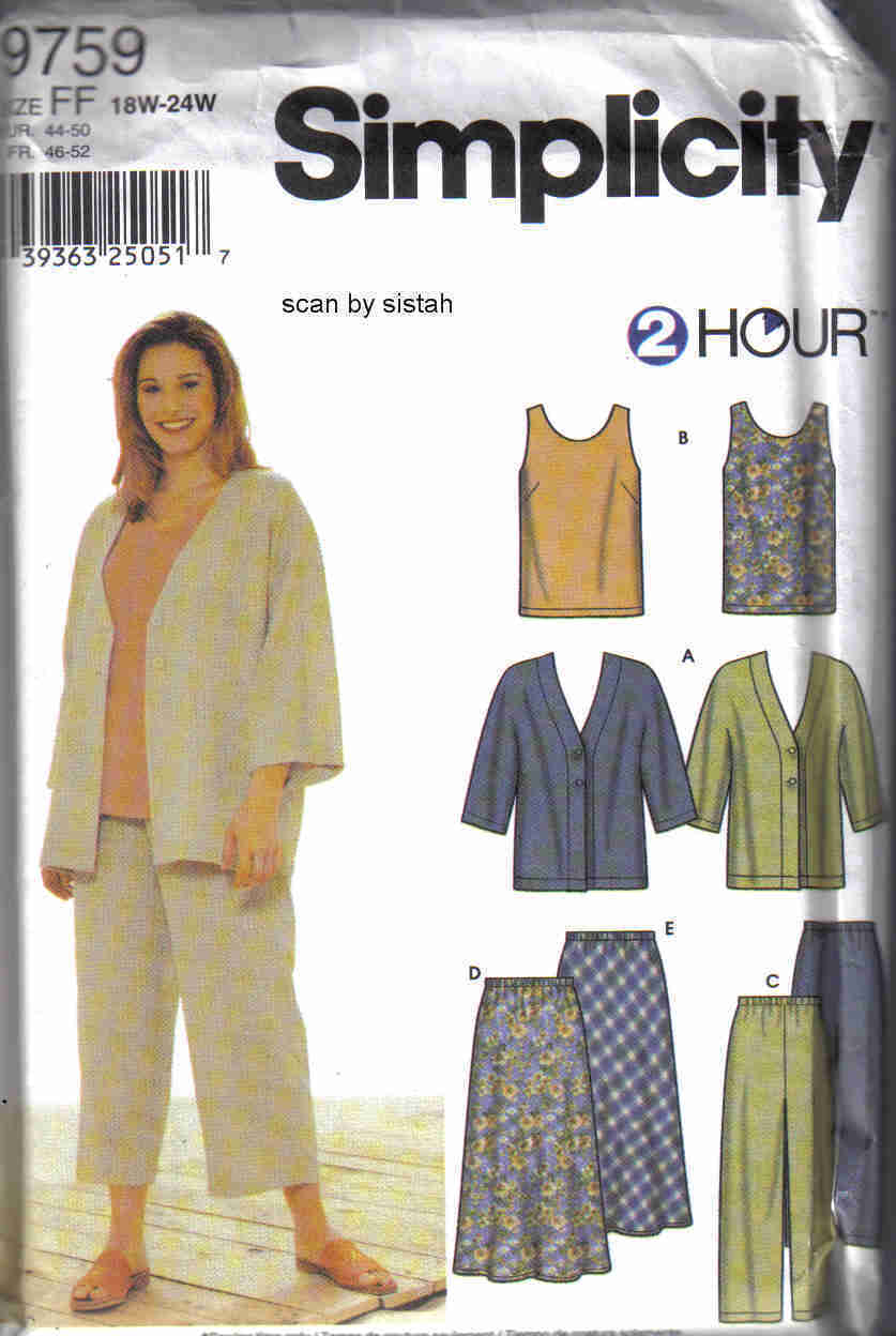 Simplicity 9759 Pattern 18 20 22 24 top skirt pants jacket tunic business casual