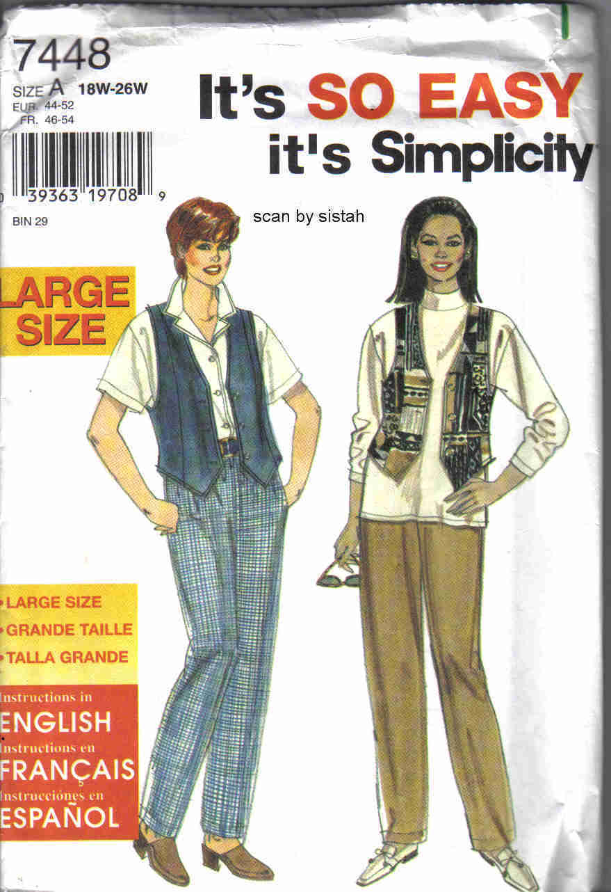 Simplicity 7448 Pattern 18 20 22 24 26 womens plus pants vest casual