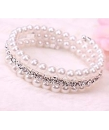 New Elegant 3 rows adjustable Czech Crystal & Faux Pearl Beads Bracelet - $5.99
