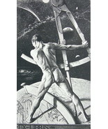 NUDE EX LIBRIS Male Stands on Globe Holds Dividers - 1922 Lichtdruck Print - $16.20