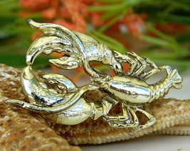 Vintage Lobster Pin Brooch Gold Tone Maine Figural Claws Crustacean - $15.95