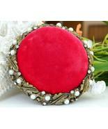 Vintage sewing pin cushion ornate red velvet pearls rhinestones thumbtall
