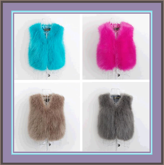 Six Color Dyed Long Hair Faux Fur Fashion Short Vests, FUN Wear w/ Everything!