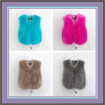 Six Color Dyed Long Hair Faux Fur Fashion Short Vests, FUN Wear w/ Every... - ₨4,745.61 INR