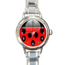 Ladies Round Italian Charm Bracelet Watch Ladybug Lady Bug Gift model 33... - $11.99