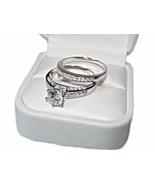 Non-Tarnishing CZ Sterling Silver 2Pc Bridal Ring Set, Engagement Ring Set - $88.98