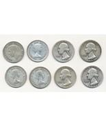 4 Washington Silver Quarters & 4 Canadian Silver Quarters FREE SHIPPING - £24.85 GBP