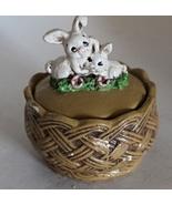 Vintage Rabbits On A Basket Trinket Box Easter - $0.00