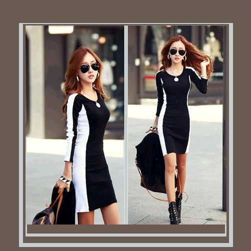Sexy Long Sleeve Figure Enhancer Black and White Sheath Dress