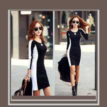 Sexy Long Sleeve Figure Enhancer Black and White Sheath Dress  - $56.95