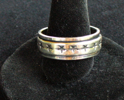 Spinning Sterling silver band with stars ring