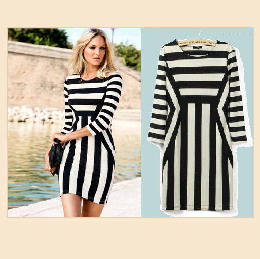 Primary image for Italian Sexy Long Sleeve Figure Enhancer Striped Black and White Sheath Dress