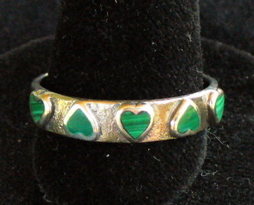 Sterling Silver Ring with Malachite Hearts