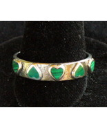Sterling Silver Ring with Malachite Hearts - $8.00