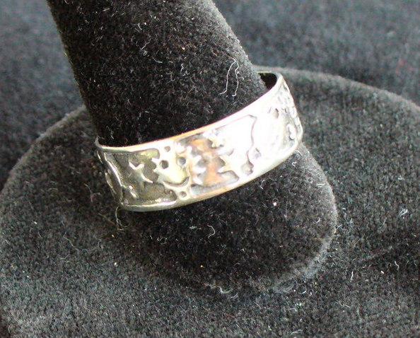 Sterling Silver Ring with Sun and stars