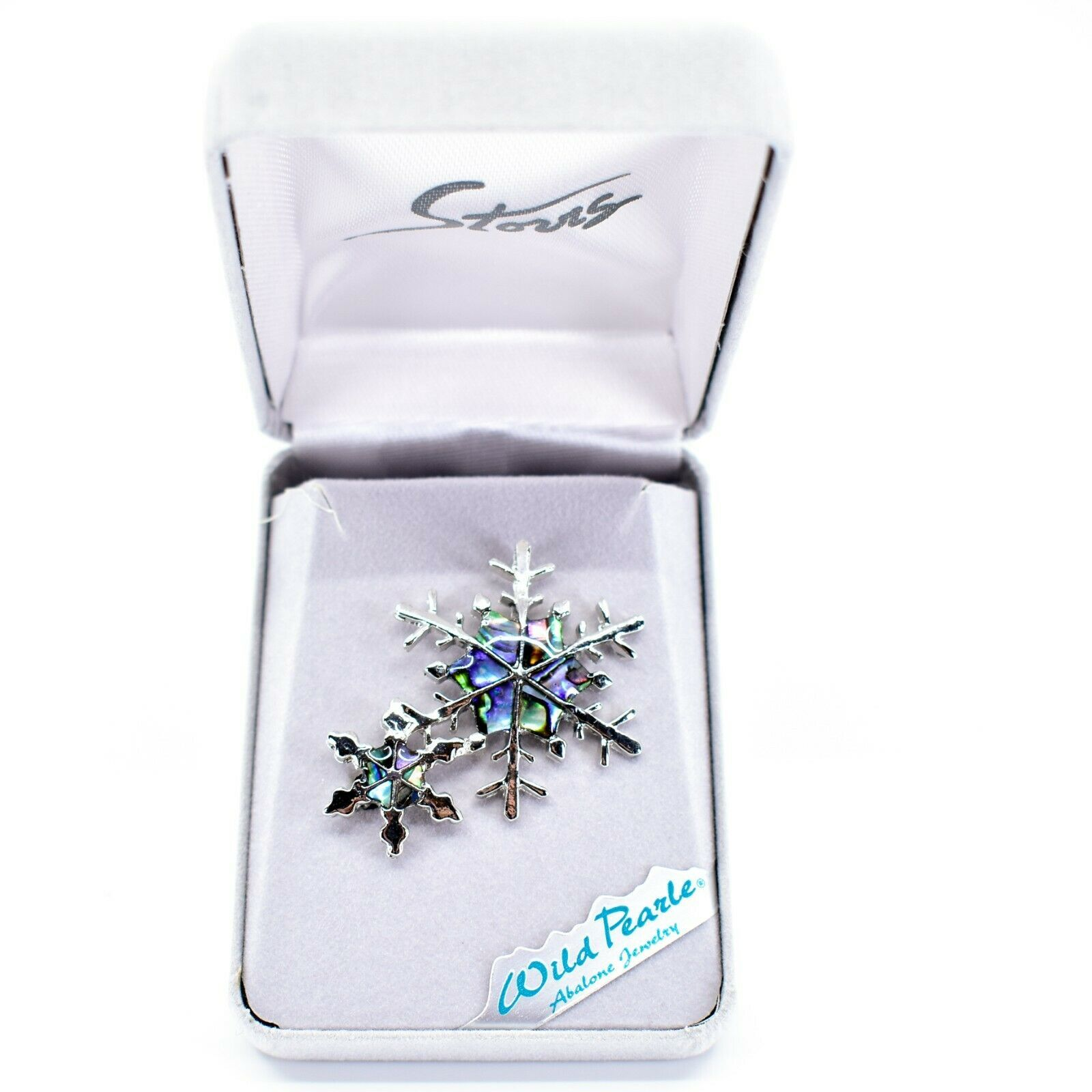 A.T. Storrs Wild Pearle Abalone Shell Winter Snowflakes Silver Tone Pin Brooch