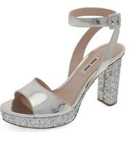 MIU MIU Glitter Platform Sandals Size 39.5 - $455.39