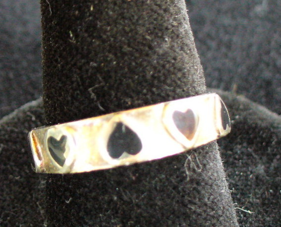 Sterling Silver ring with Onyx Hearts