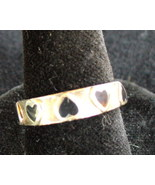 Sterling Silver ring with Onyx Hearts - $8.00