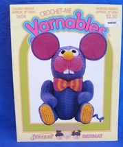 Vintage Crochet Me Yarnables Crochet Pattern Stuffed Toy Animal Squeaky Mouse - $9.95