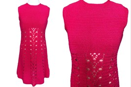 60s Hot Strawberry Pink Crochet Hand Knitted Shift A-Line Tank Mini Dres... - $65.00