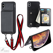 Apple iPhone XR / XS Max Leather Wallet Card Case Flip Lanyard Neck Stra... - $9.69